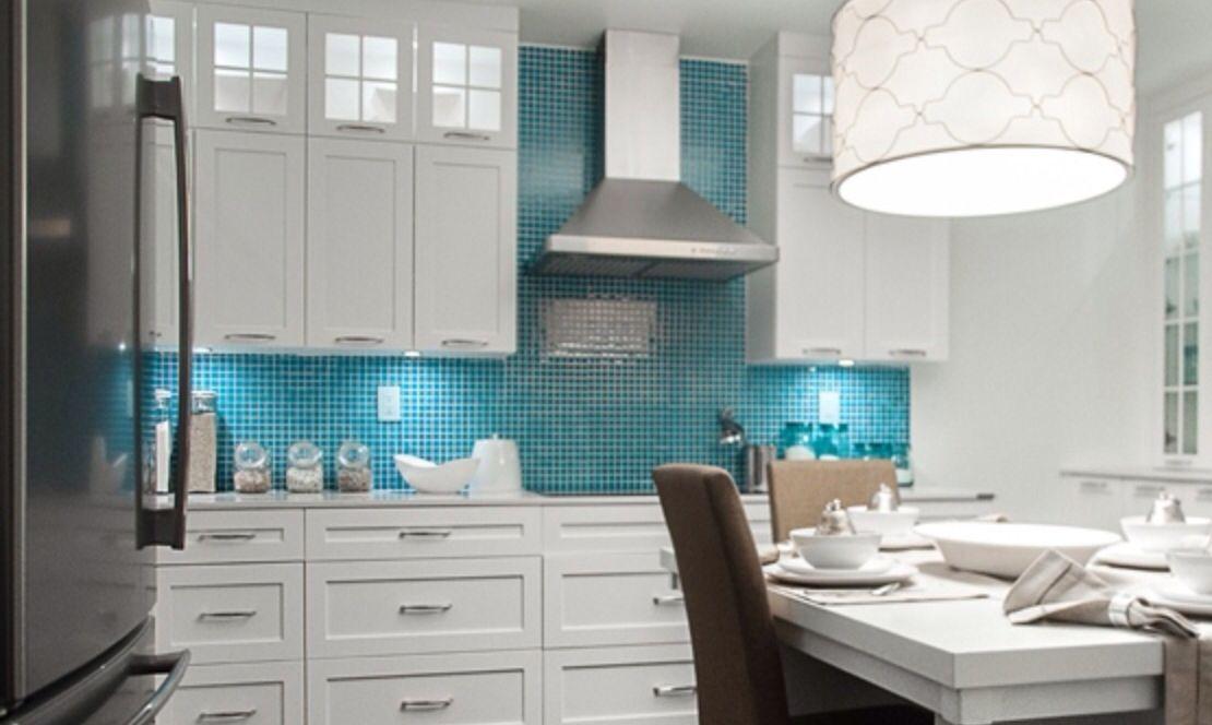 Kitchen white cabinets  turquoise tile  Deco  Kitchen  Pinterest