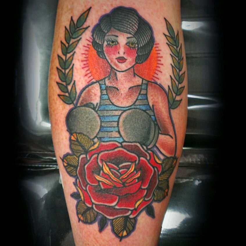 Boxer girl rose traditionaltattoo traditional for Traditional americana tattoos