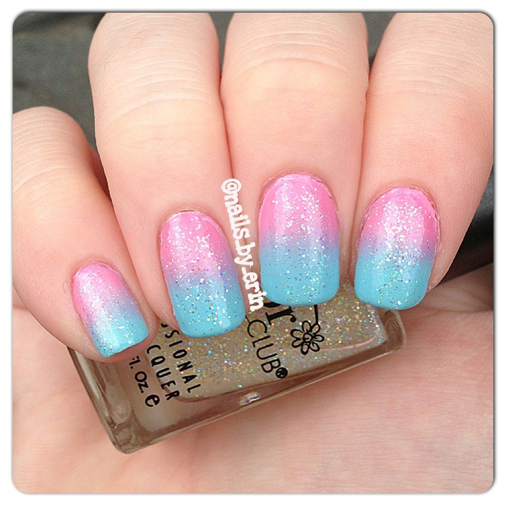 Cotton Candy Glitter Nails: Glitter Cotton Candy Ombre/gradient