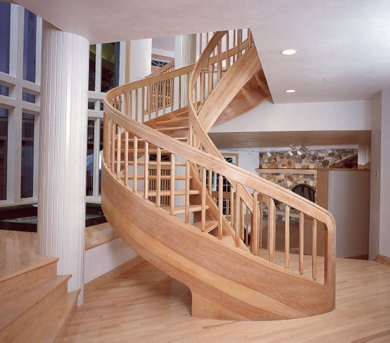 Solid wood spiral stair red oak wood custom made × more