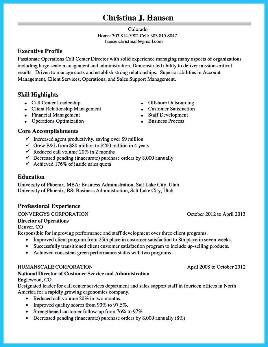 Resume For Call Center