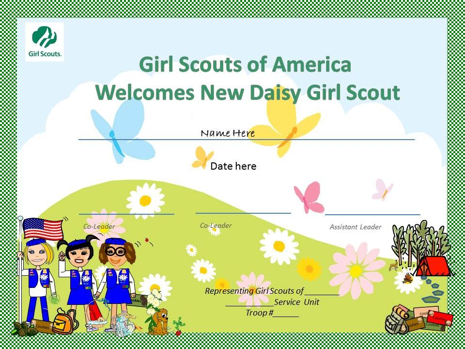 Daisy Investiture Certificates printable free   just b.CAUSE