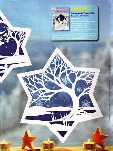 papercut light winter scene idea waldorf window star sun catcher papercutting patterns. Black Bedroom Furniture Sets. Home Design Ideas