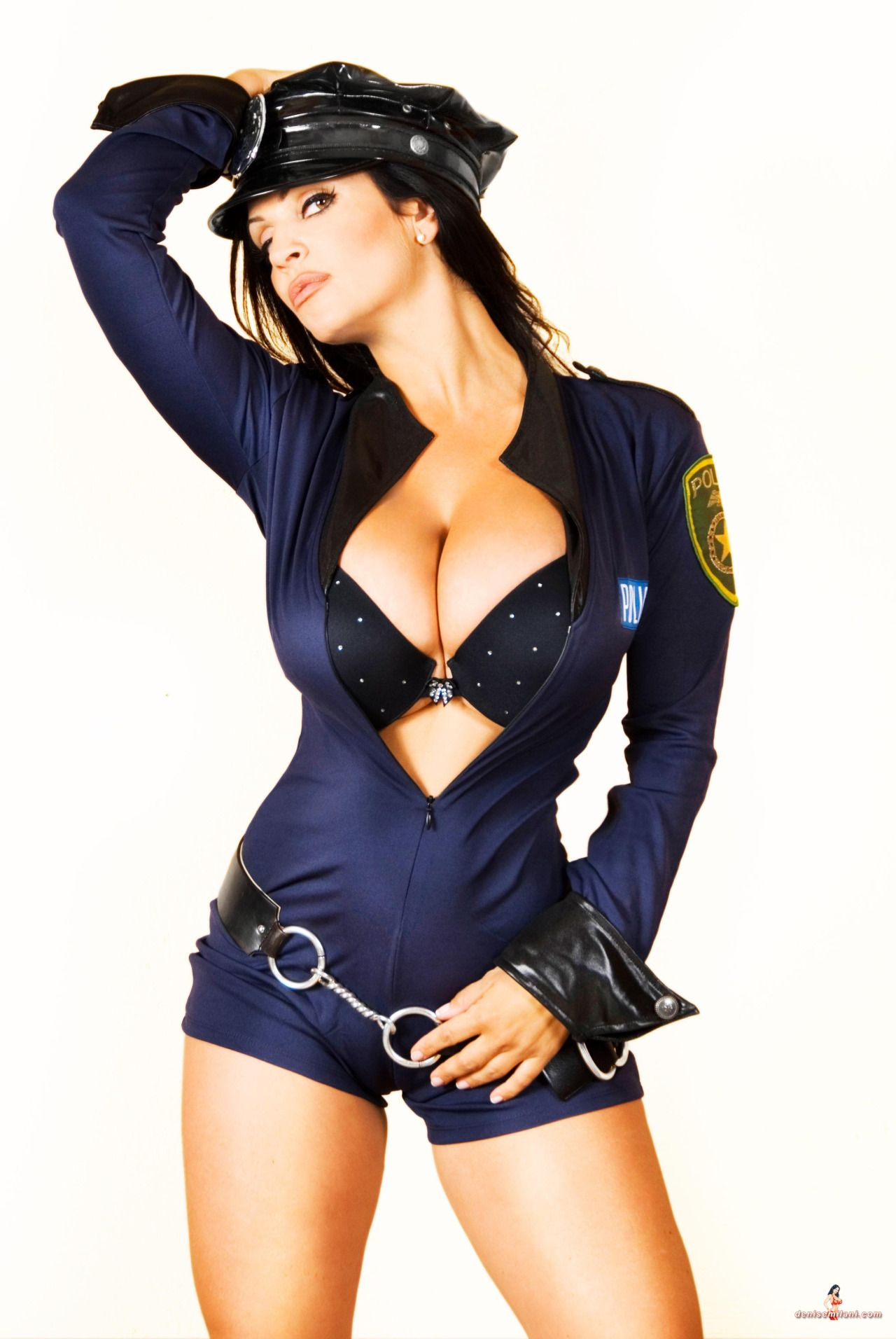 Chesty brunette Alison Taylor removing police uniform for nude photos № 1243283 загрузить