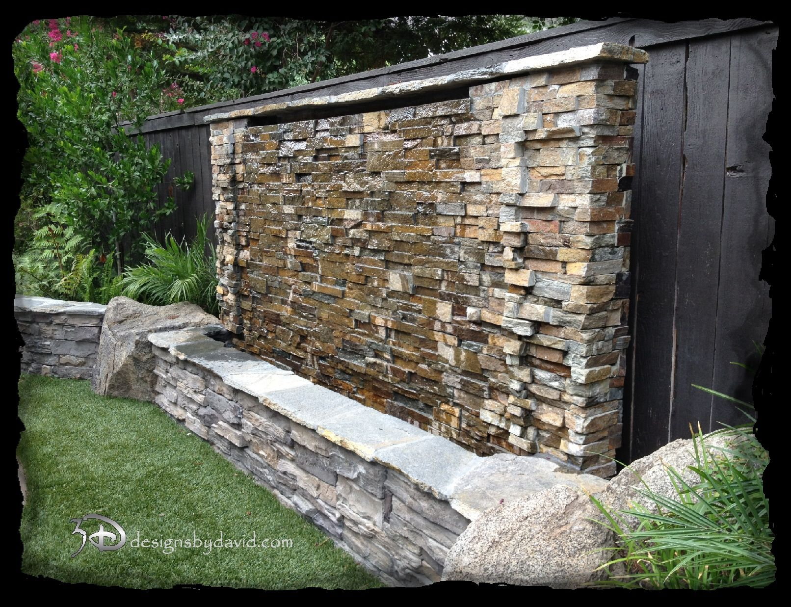 Stone water wall babara home pinterest for How to build a water feature wall