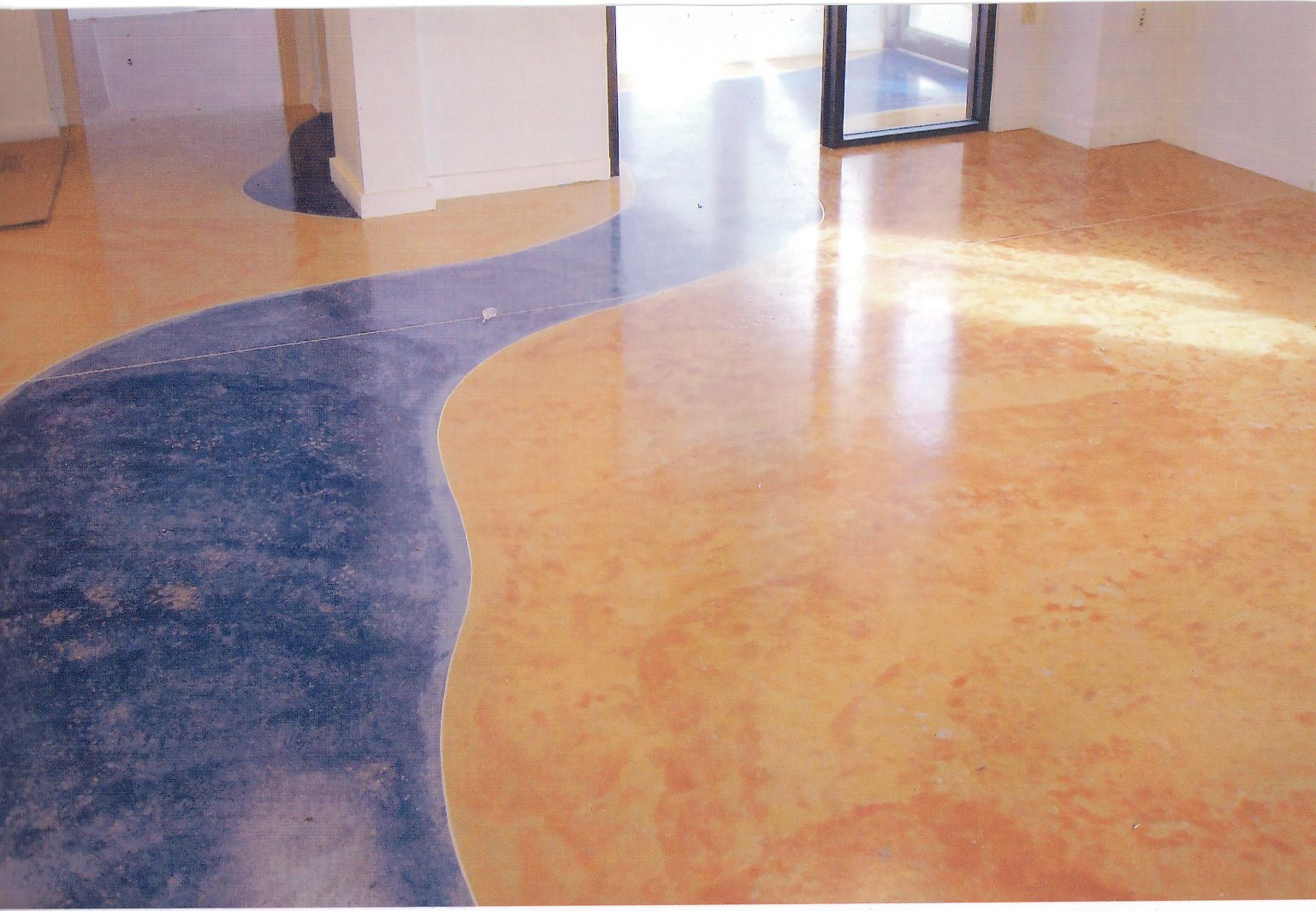 Staining concrete floor patterns diy pinterest for How to care for stained concrete floors