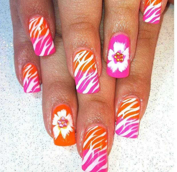 Hawaiian flower nails | Nail Art | Pinterest