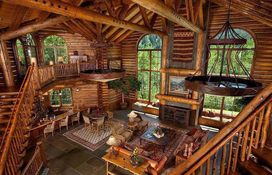 Log Cabin Interior Mountain Life Dream Pinterest