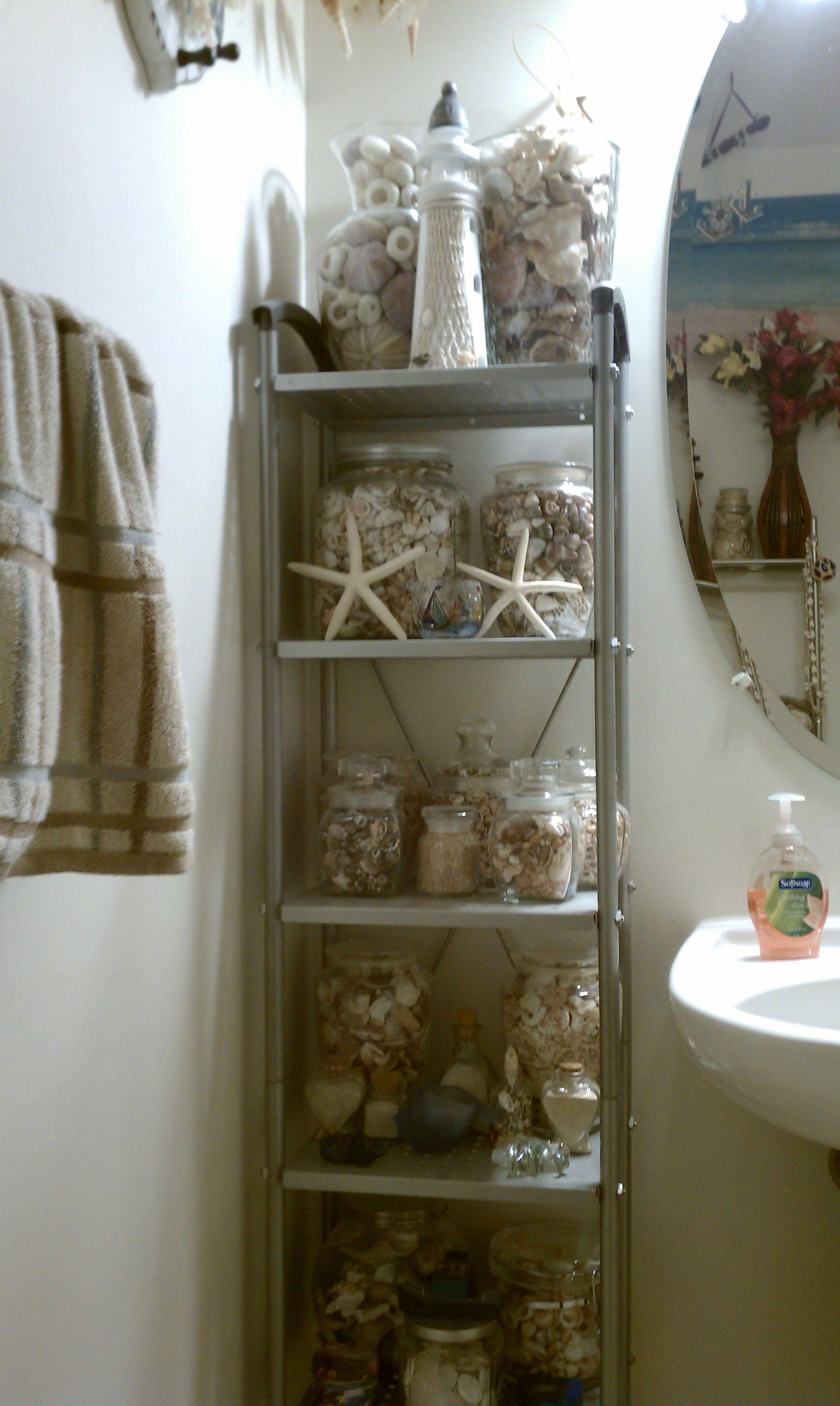 My nautical sea shell themed bathroom decor for Nautical themed bathroom ideas