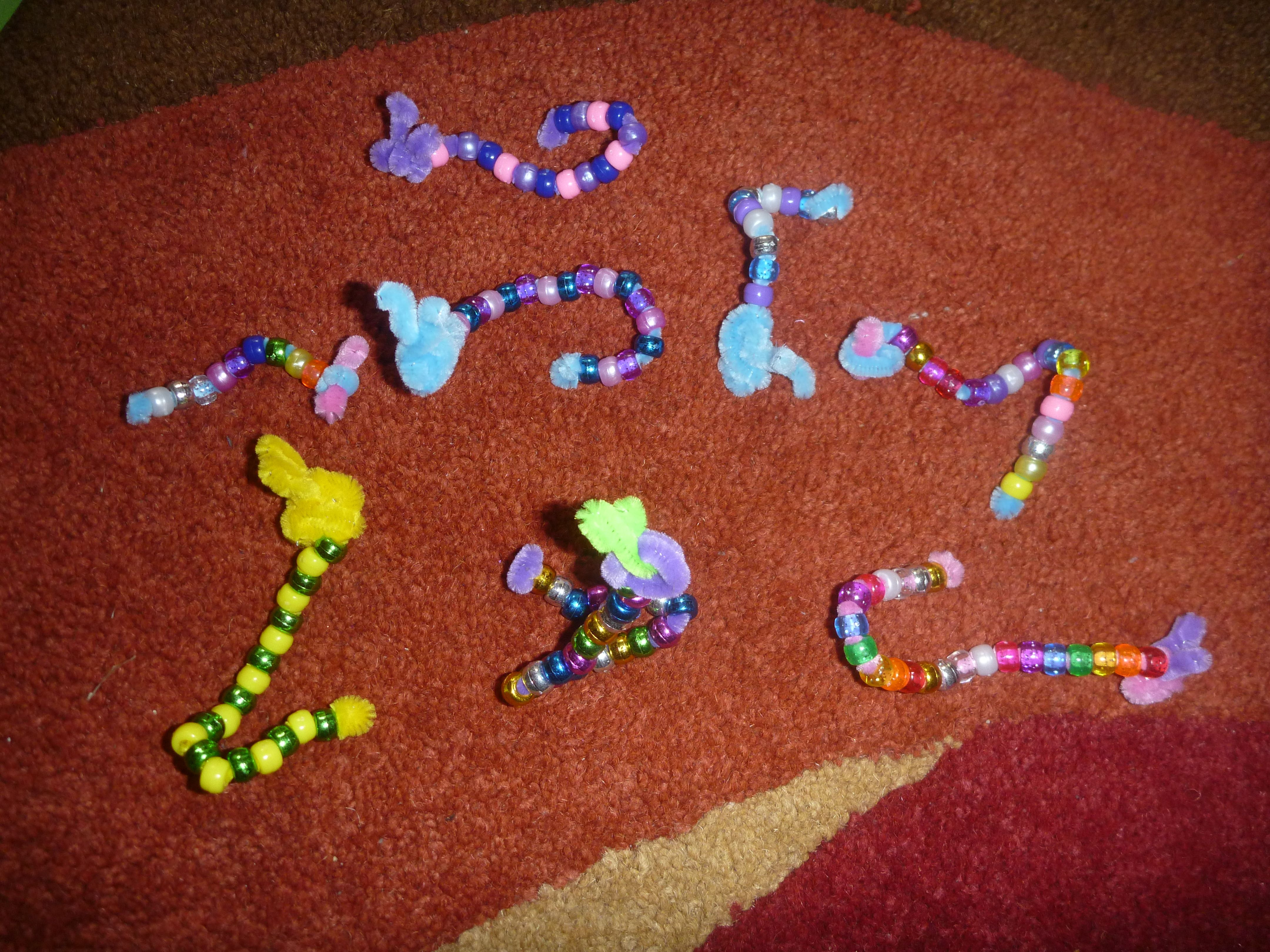 pipe cleaner and bead caterpillars crafts