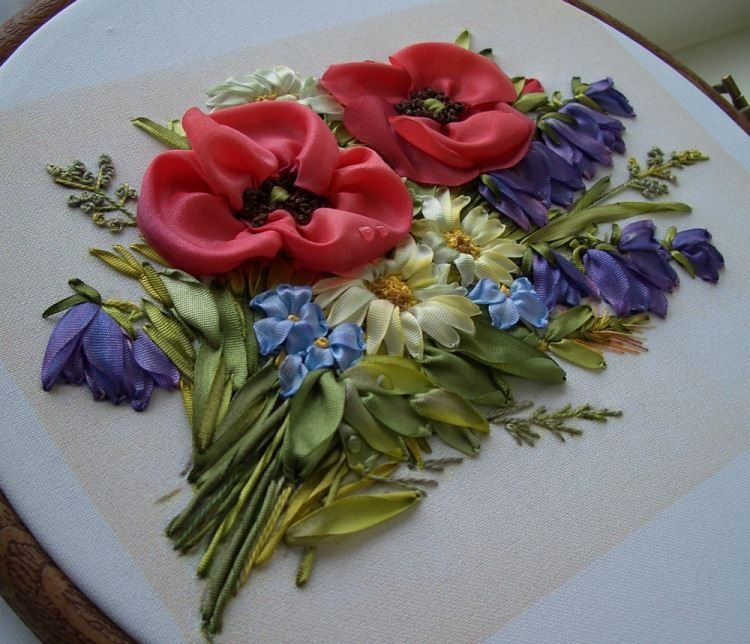 Ribbon flowers embroidery pinterest