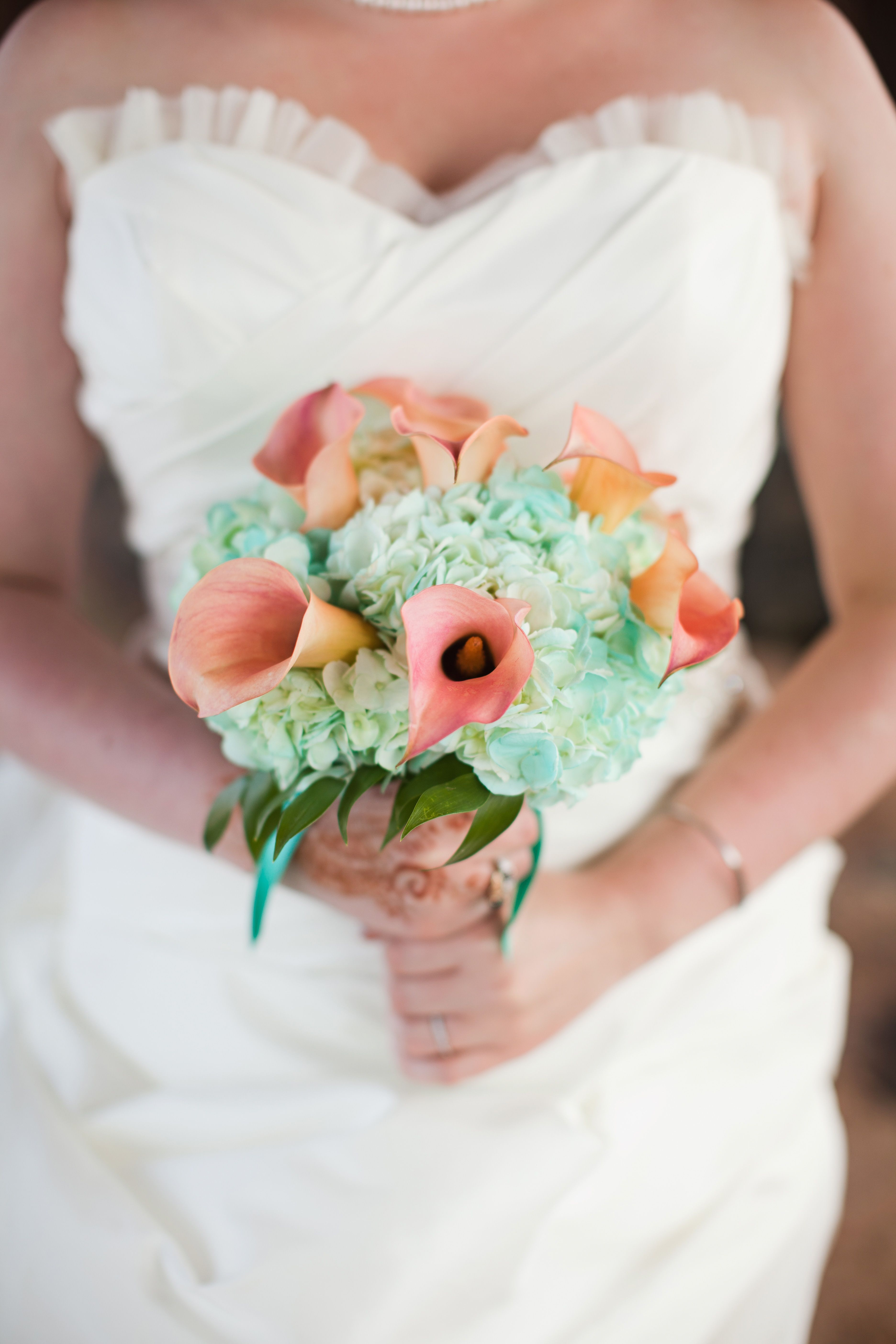 Wedding Bouquet Blue Hydrangea Peach Calla Lily Wedding Dress