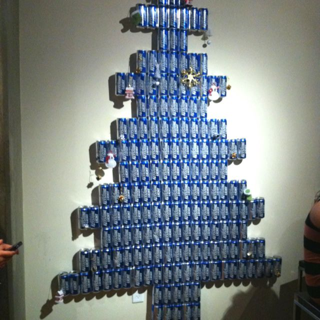 Beer Can Wall Christmas Tree Haha Some Of My Guy