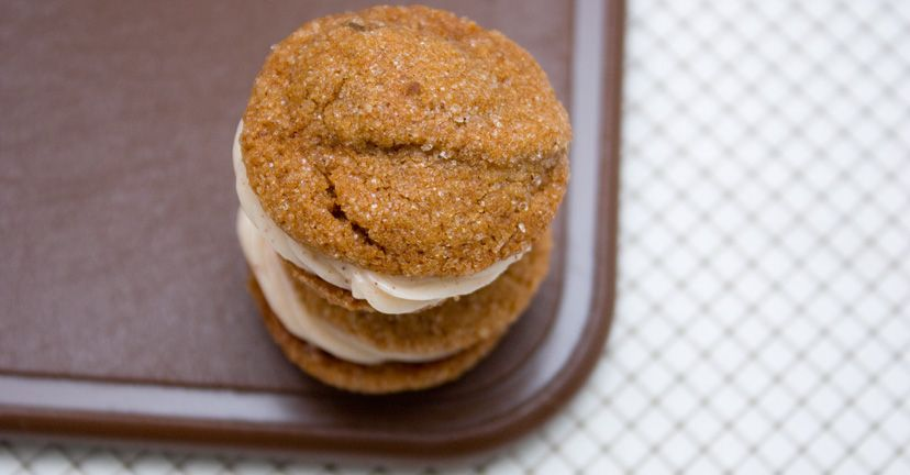 mini ginger cookie sandwiches with cinnamon cream cheese filling
