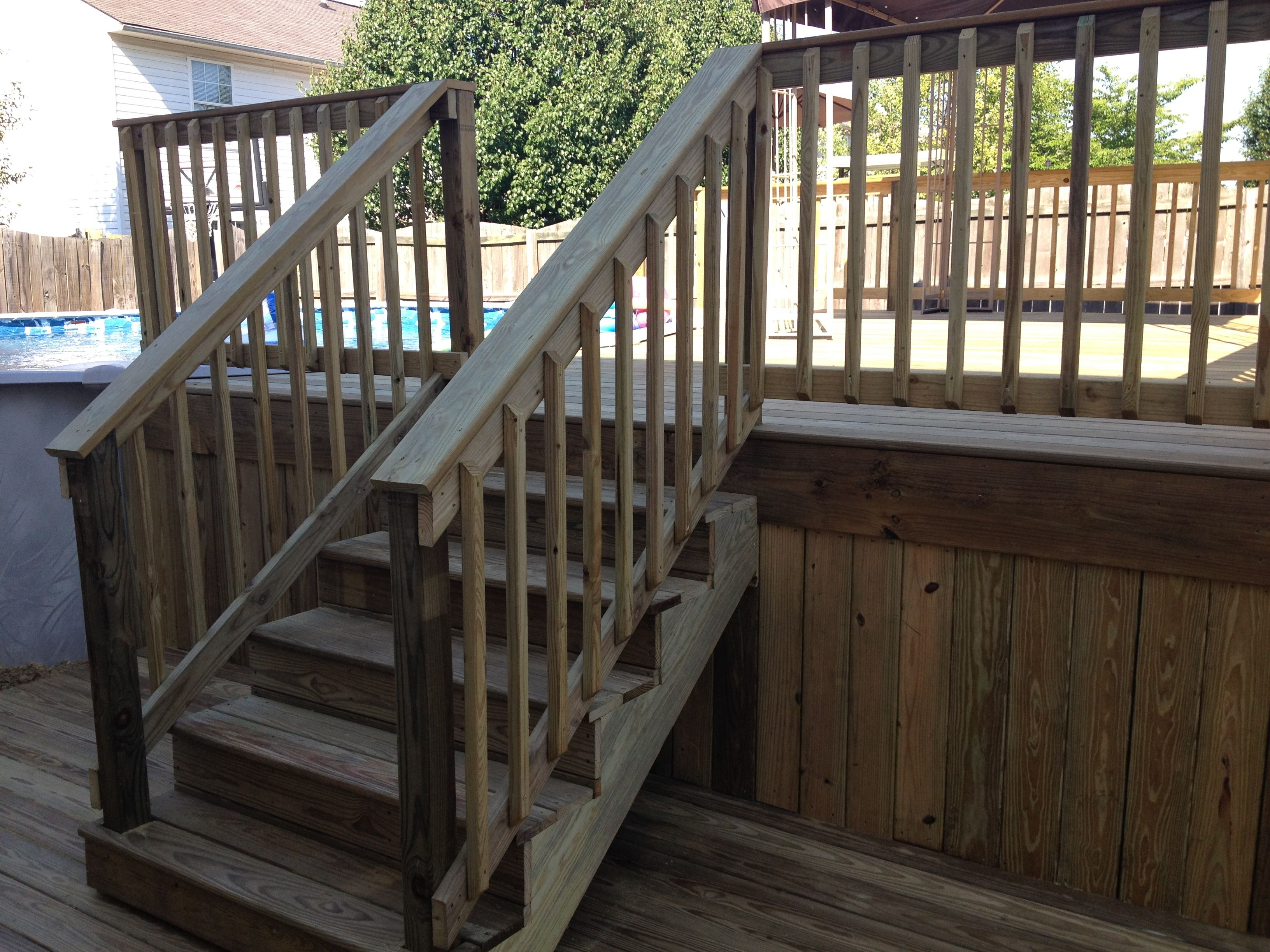 Two Level Pool Deck Wood Decks Pinterest