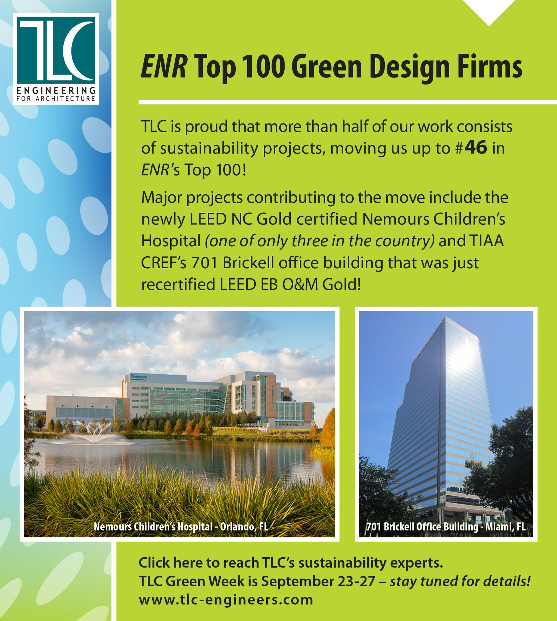 Enr top 100 green design firms tlc announcements pinterest for Top sustainable architecture firms