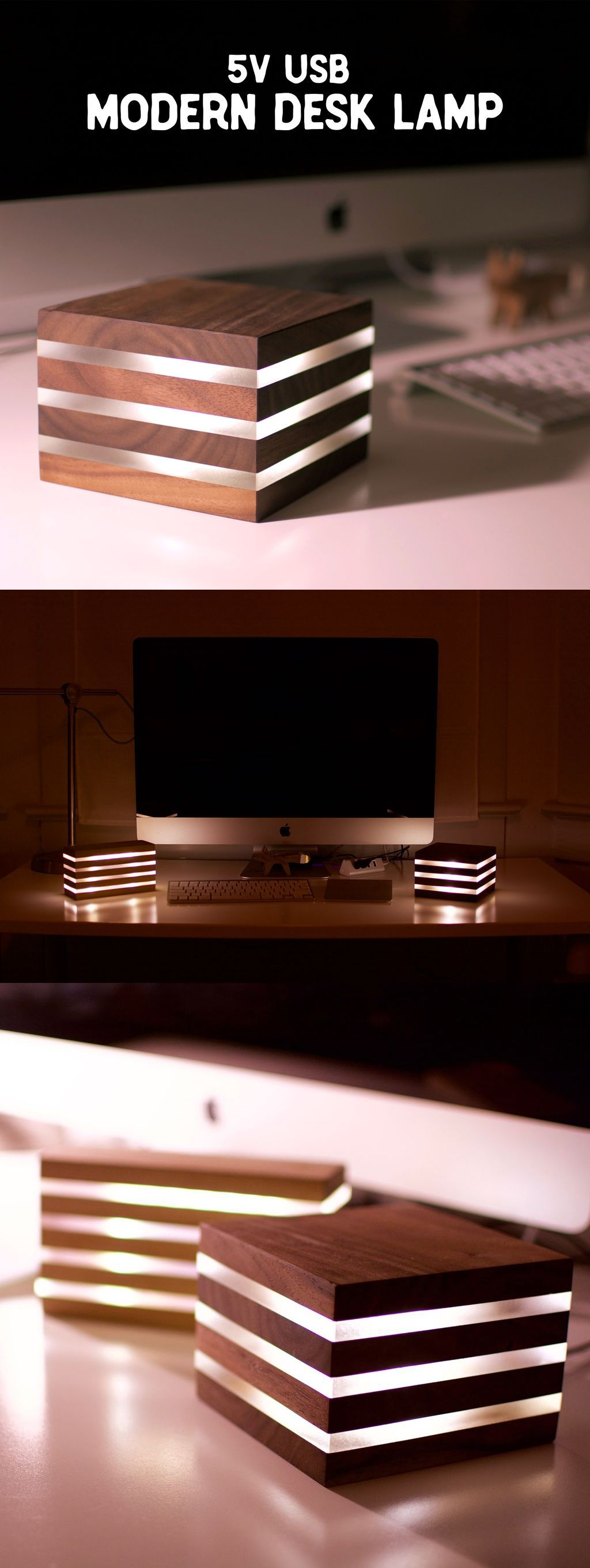 Modern Led Desk Lamp Powered By 5v Usb Wood Pixodium