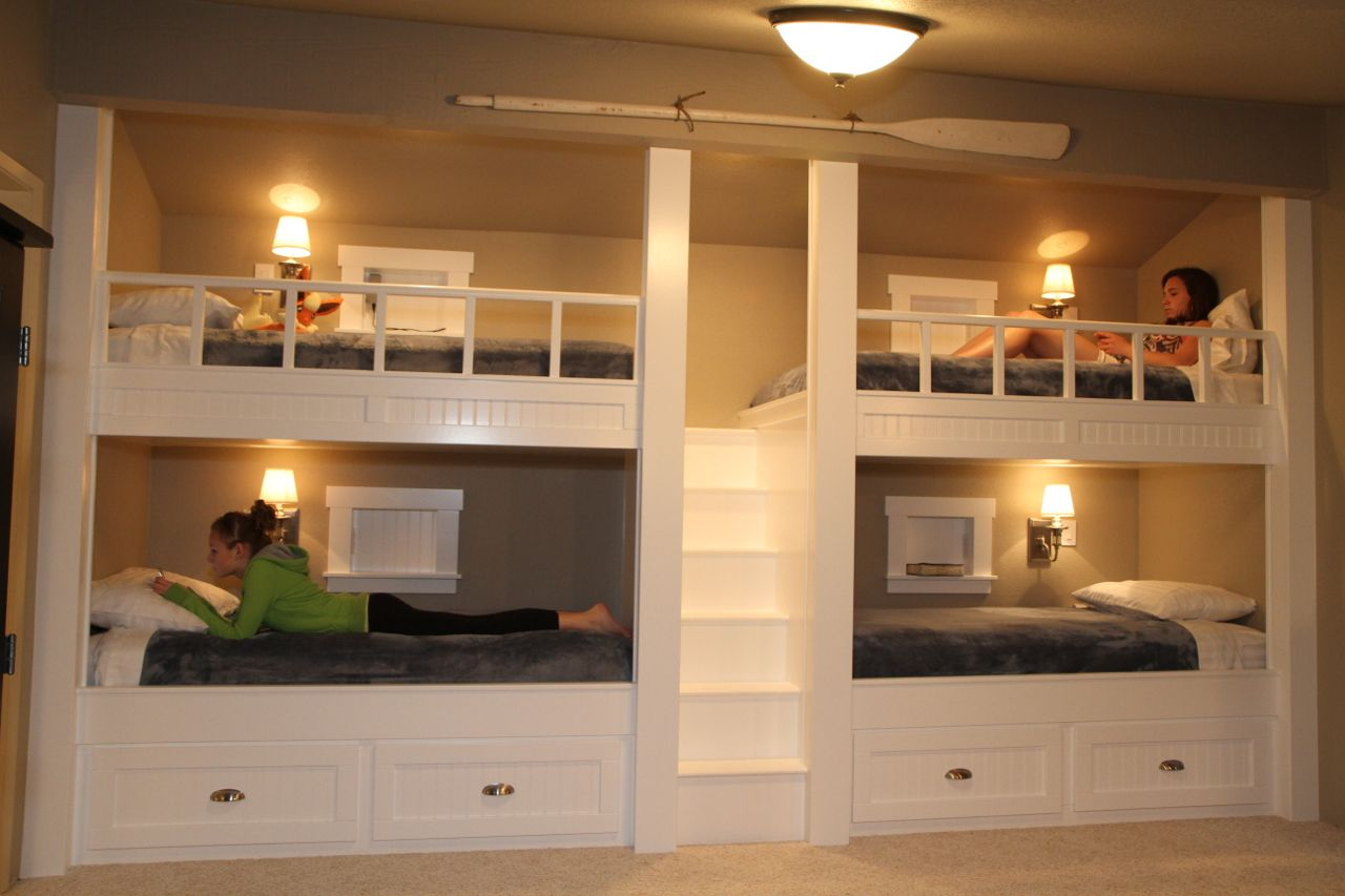 attic bedroom ideas for girls - Quad Bunk Beds straight on view Home