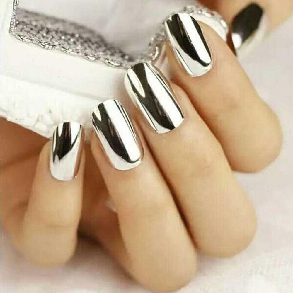 Дизайн ногтей с зеркальной пылью фото