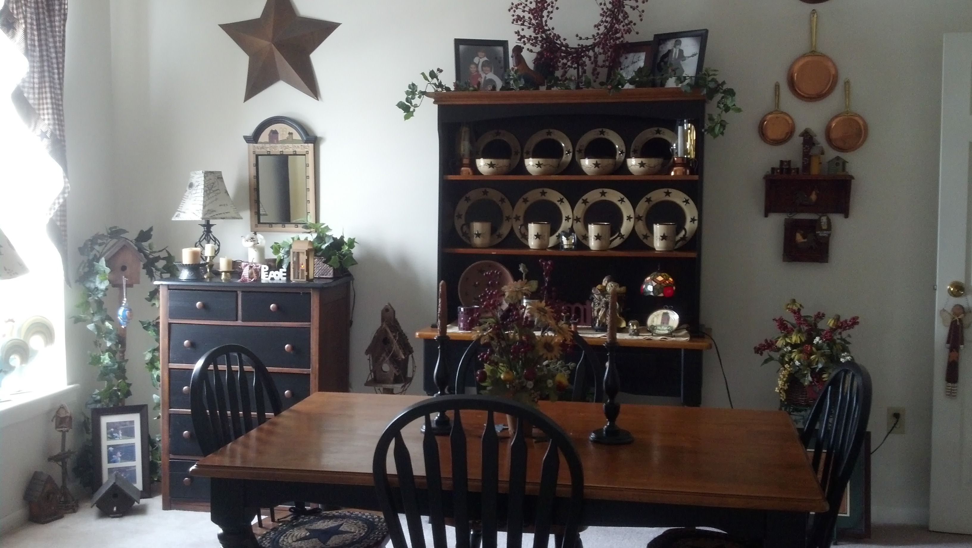 Country primitive dining room primitive country decor for Primitive country dining room ideas