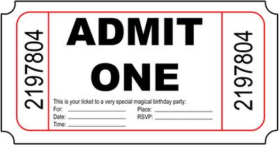 admit one ticket invitation template