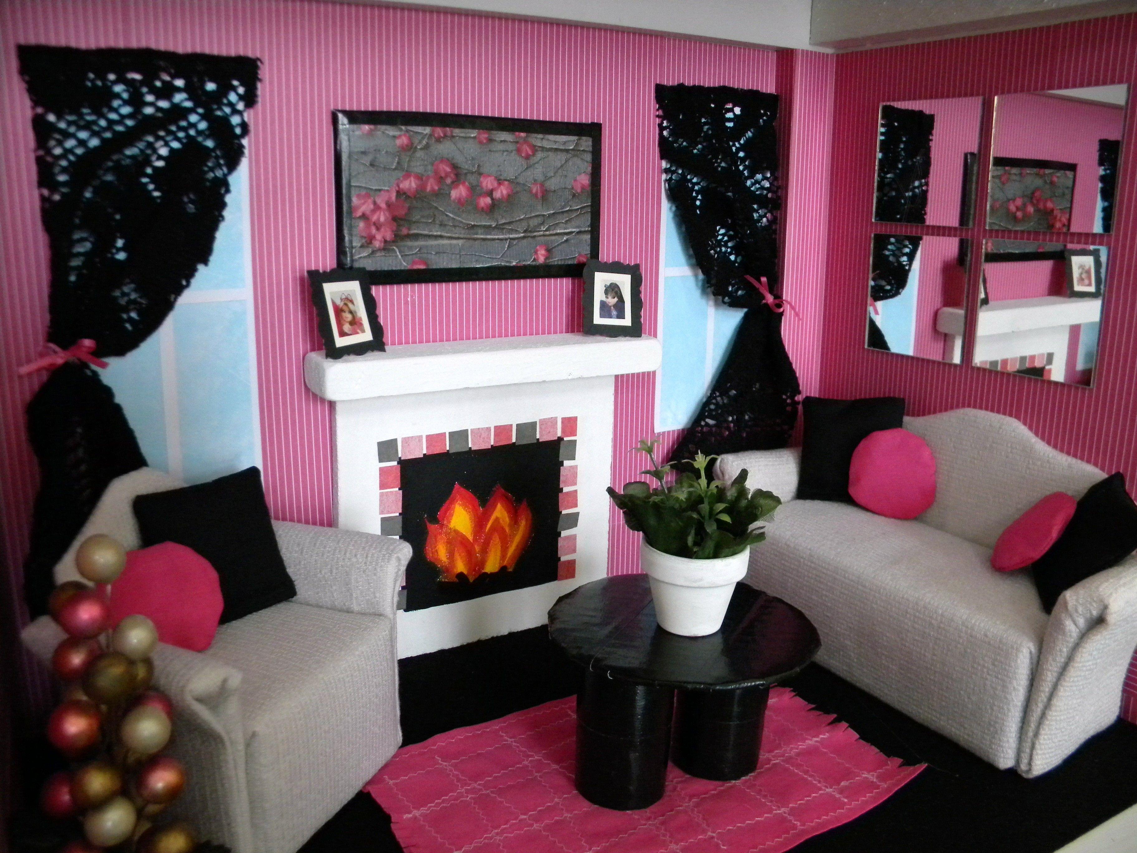Barbie living room barbie pinterest for Living room ideas townhouse