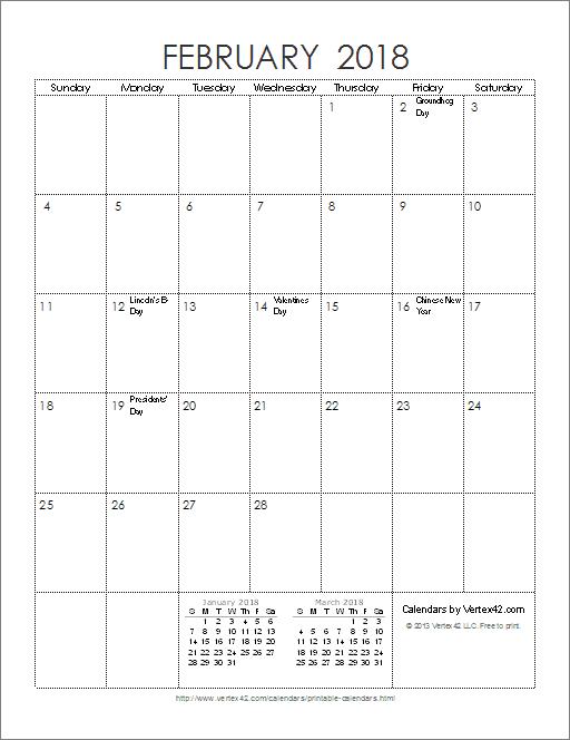 Ink Saver 2018 Calendar - Portrait | Printables | Pinterest ...