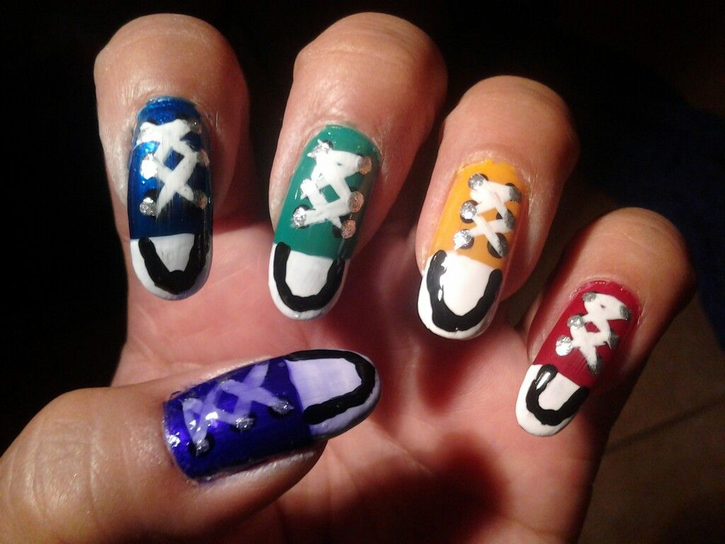converse tennis shoes nail designs pinterest