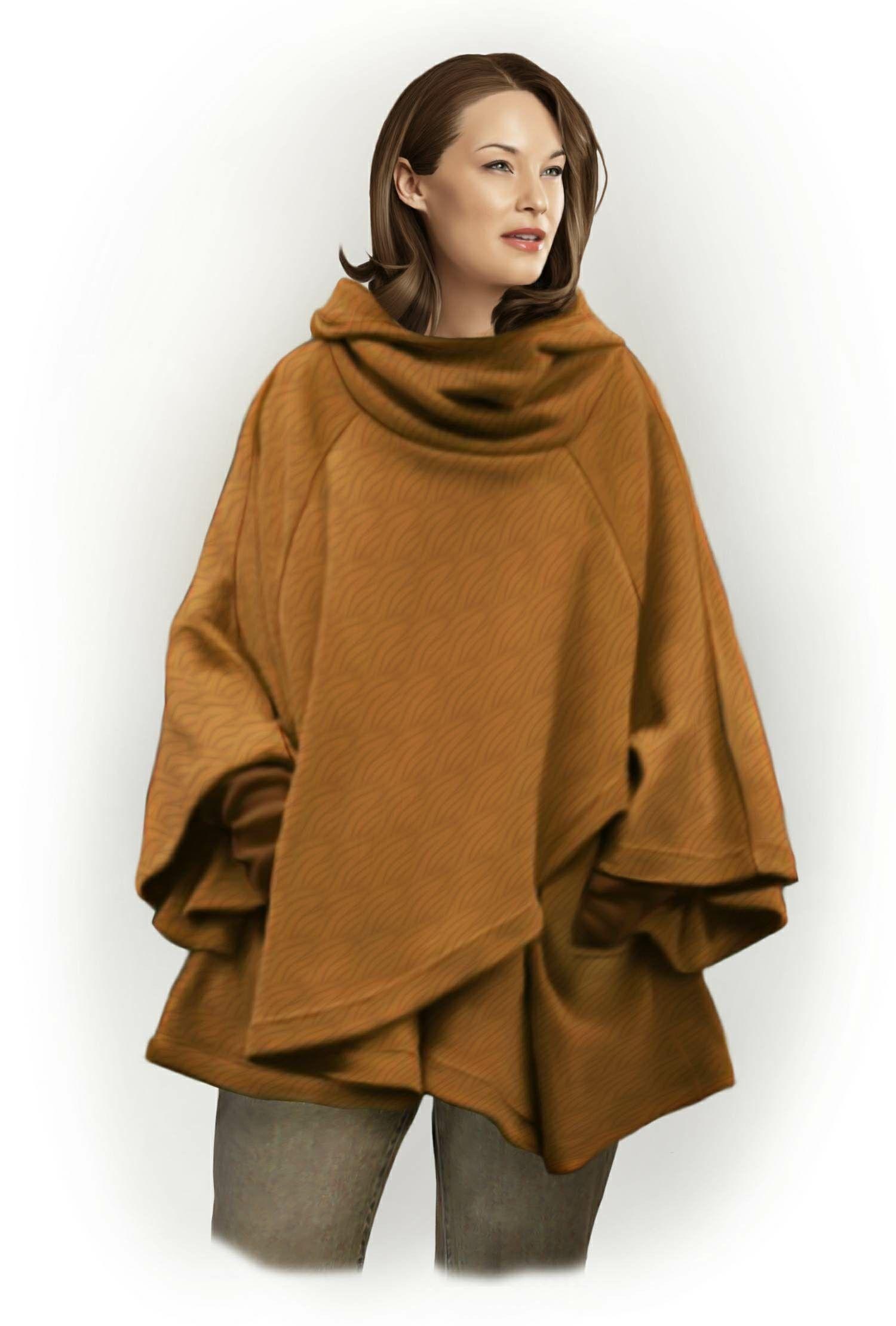 Пальто пончо: выбираем фасон и учимся шить своими руками 82