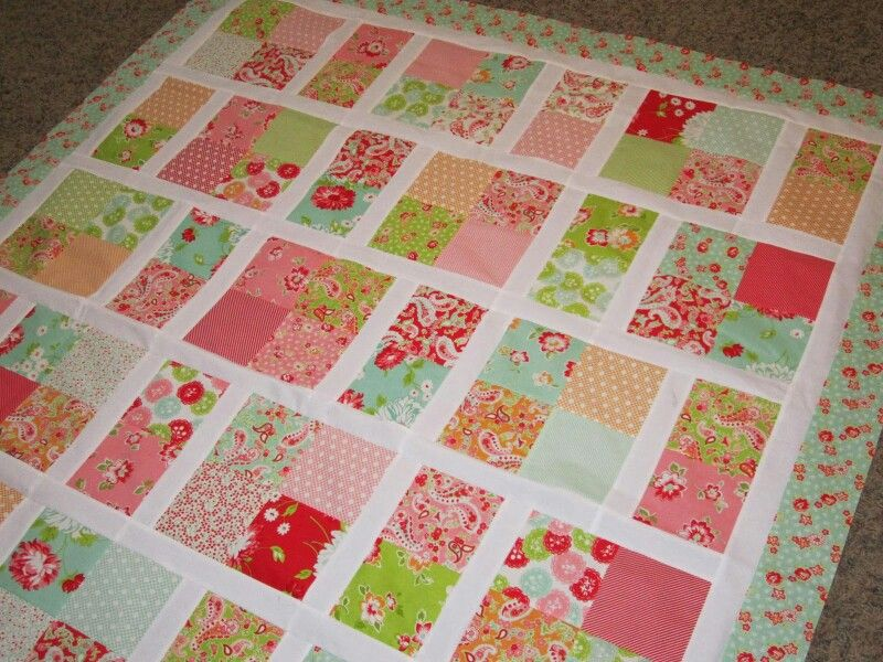 Quilting Patterns Basic : Scrumptious fabric, simple quilt pattern Quilts & blankets I want to make one day Pinterest