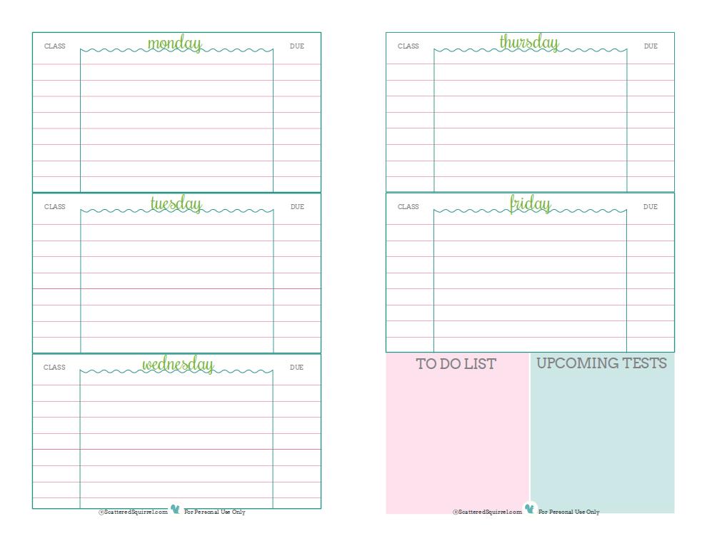 free weekly homework template .