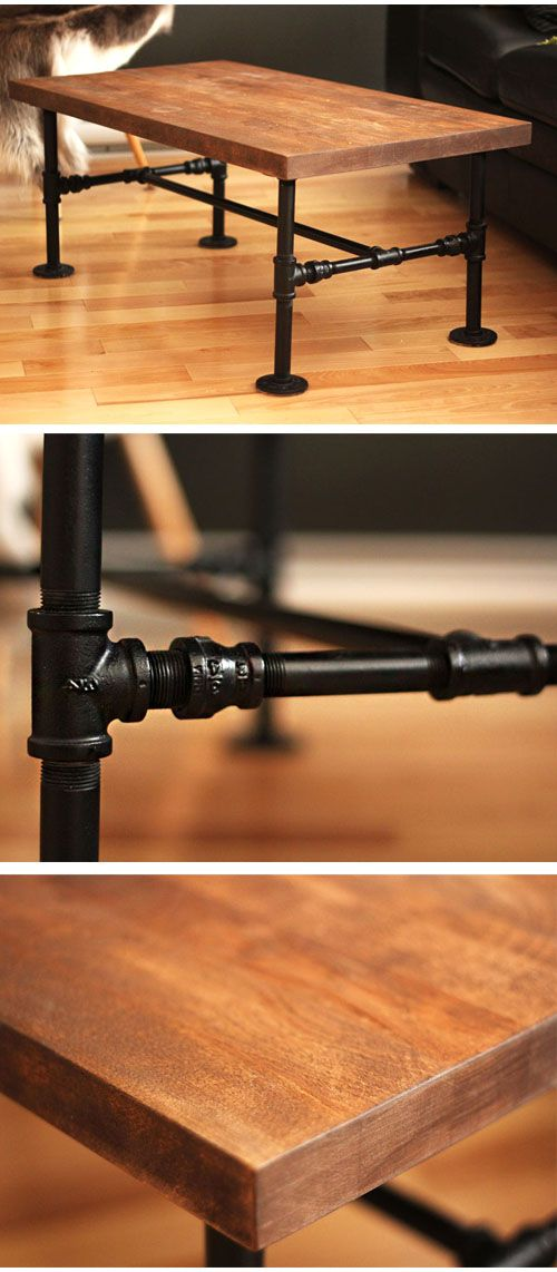diy black iron pipe table no tools only 1 screwdriver. Black Bedroom Furniture Sets. Home Design Ideas