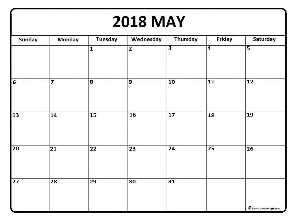 May calendar 2018 printable and free blank calendar | Printable ...