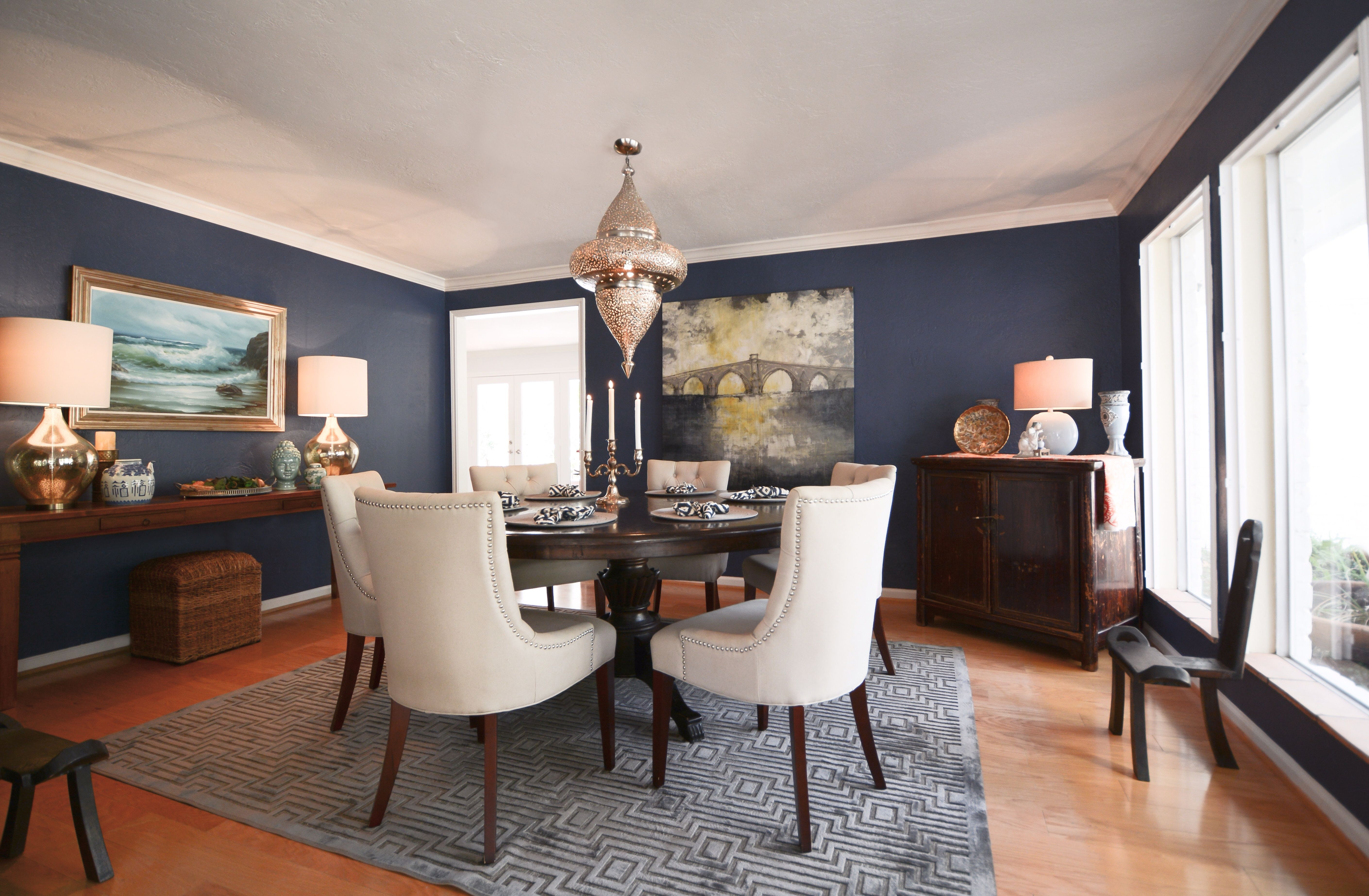 Navy dining room round table for the home pinterest for Navy dining room ideas