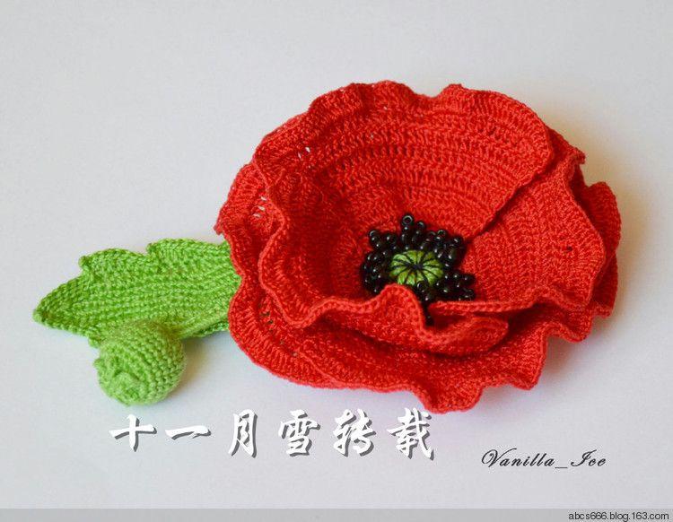 Free Crochet Poppy Brooch Pattern : Crochet poppy pattern Crochet Flowers & Leaves Pinterest