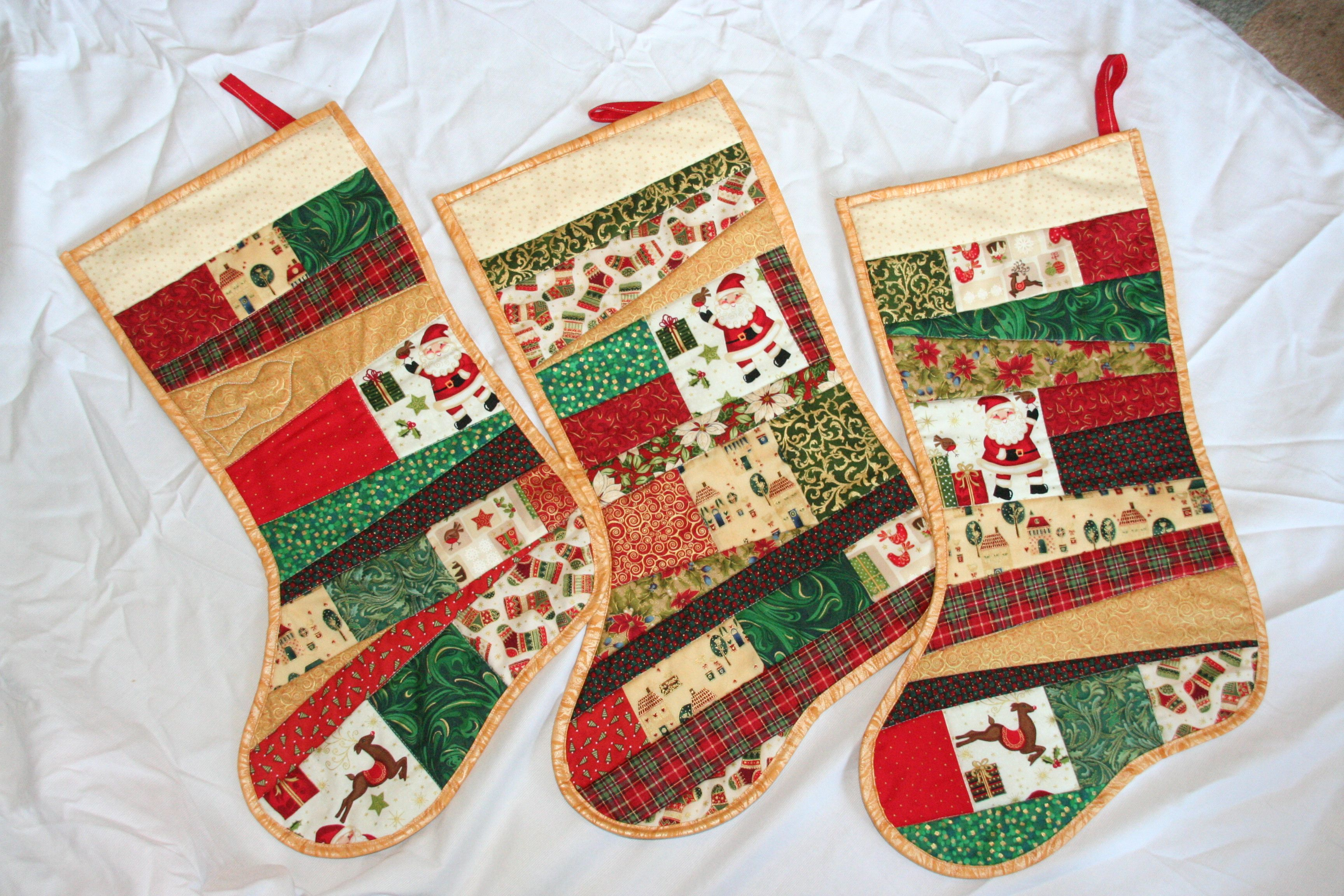 Quilted christmas stockings patchwork pinterest