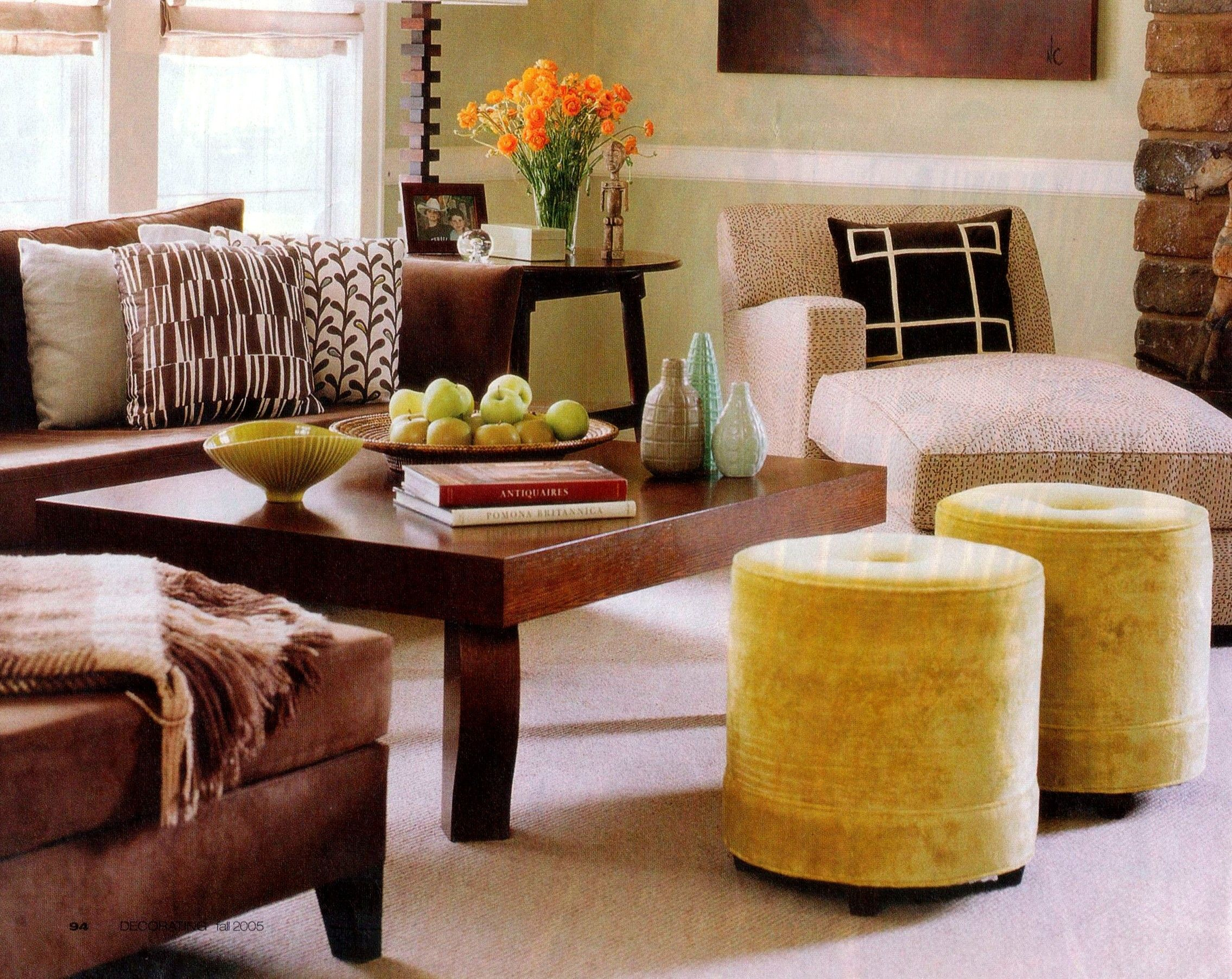 brown and yellow living room for the home