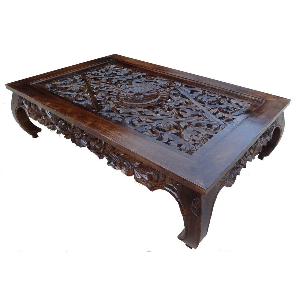 Carved Indian Teak Oriental Coffee Table Apartment Living Pintere