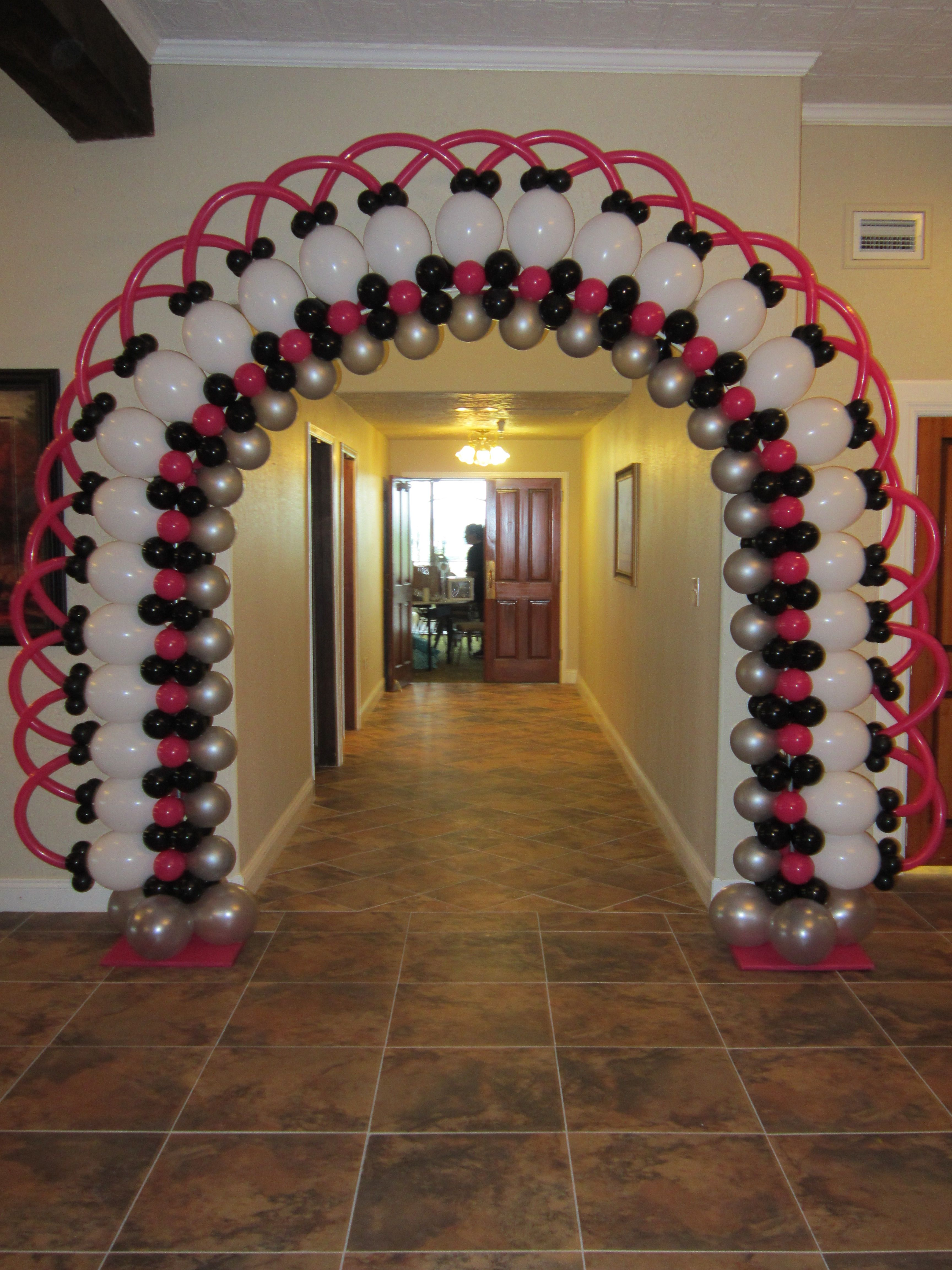 Lacy entryway balloon arch balloons pinterest for Balloon decoration arches