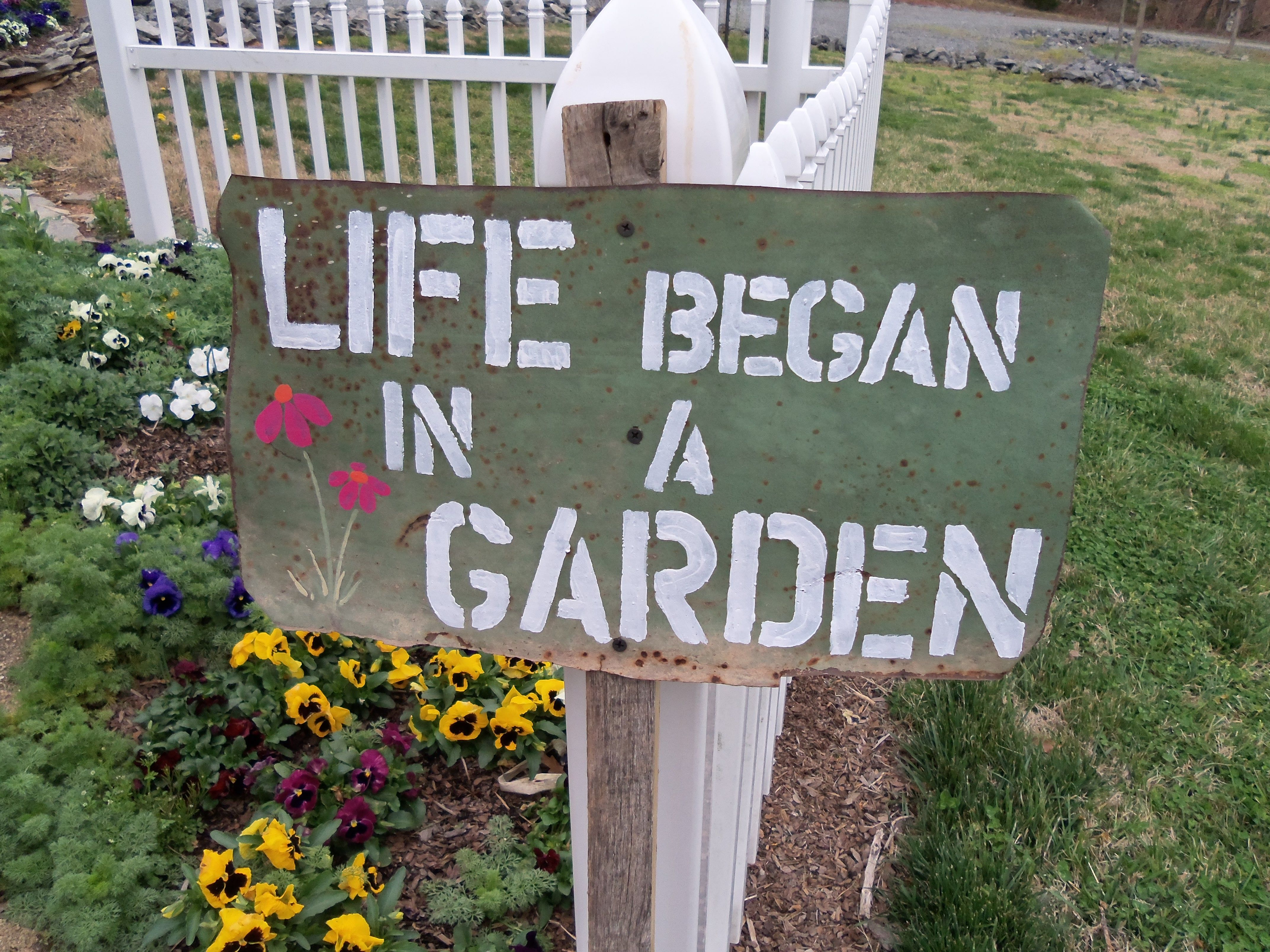 Tuinbord garden quote garden sign frases displays for Garden pond quotes