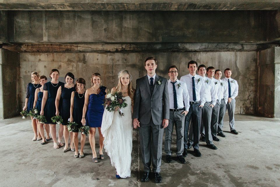 Navy Blue And Grey Wedding Party