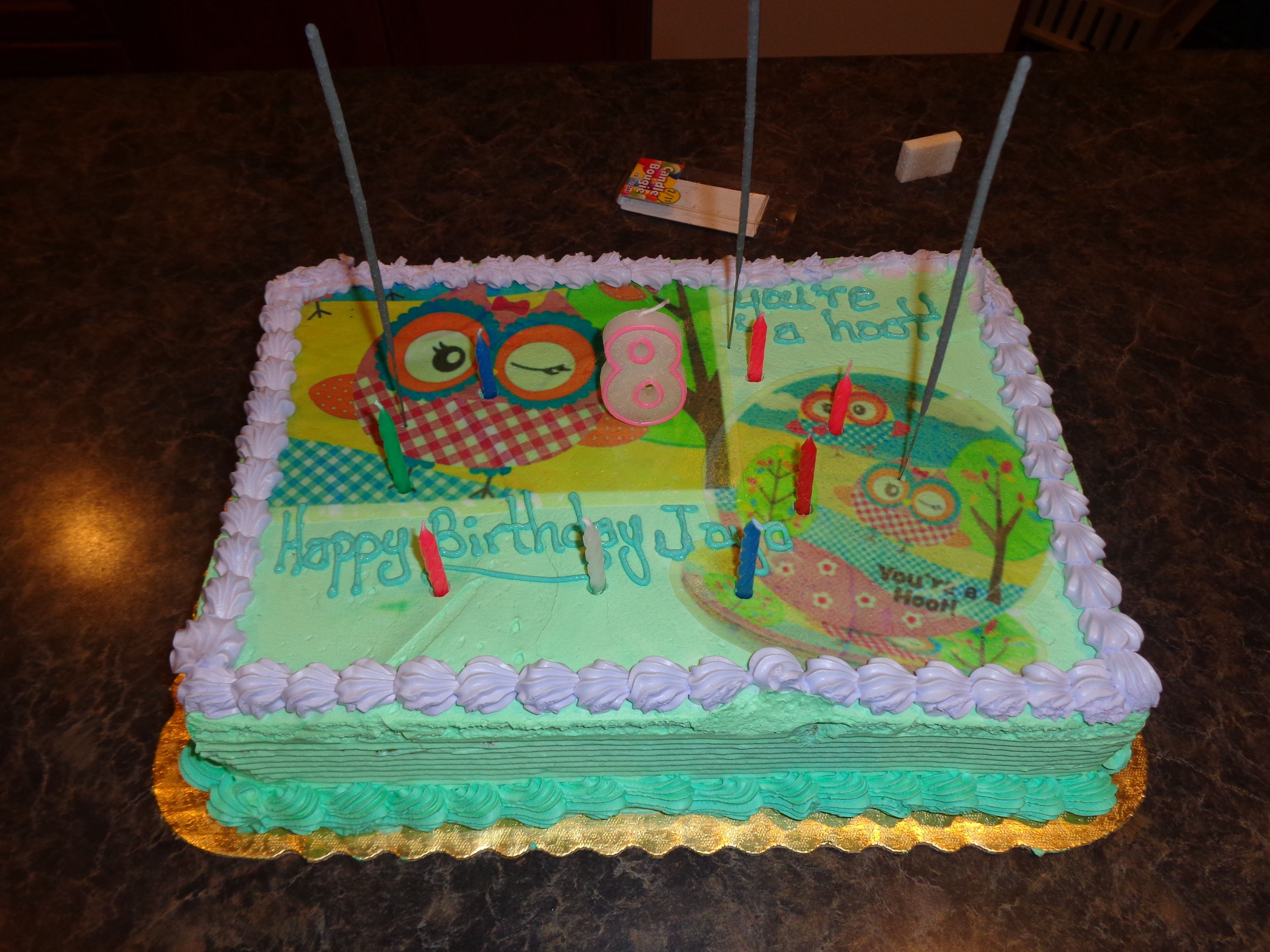 Edible Cake Image Owl : Owl themed cake with edible image. Owl Party Pinterest