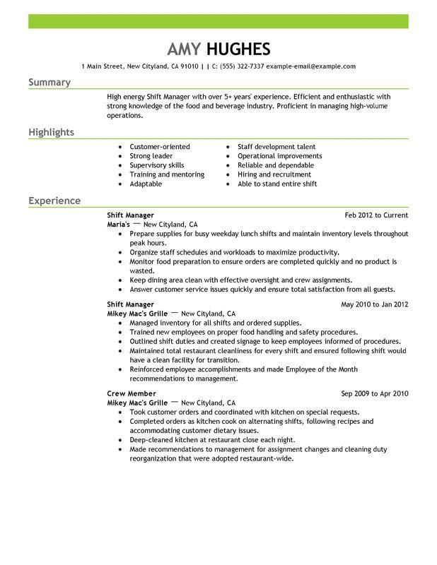 Resume Sample For Restaurant