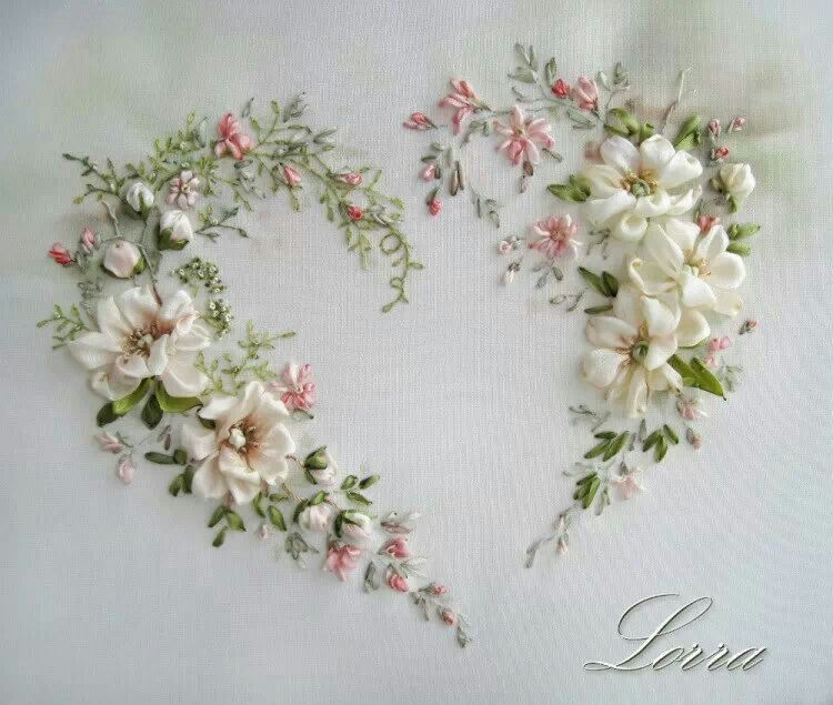 Lovely Heart  Ribbon Embroidery And Ribbon Work Flowers