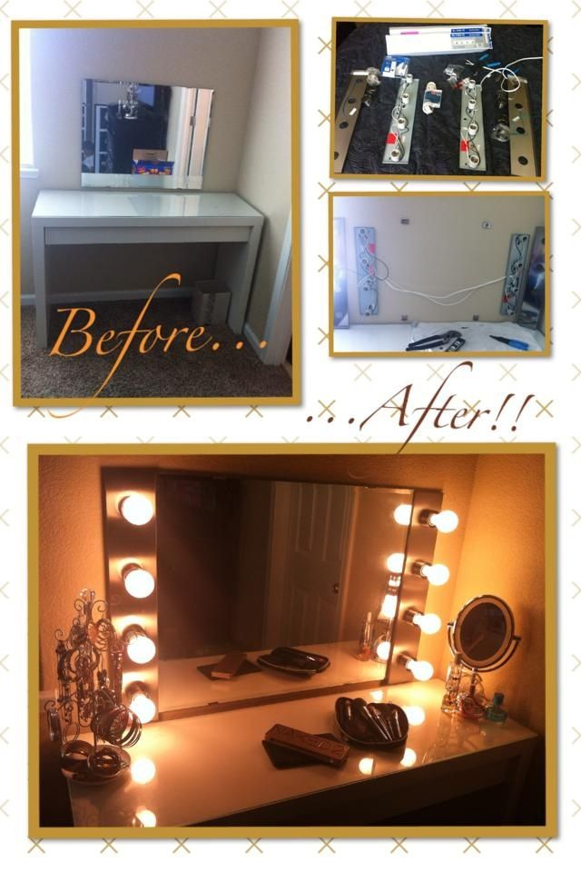 diy hollywood makeup vanity light mirror with click remote to turn lights on. Black Bedroom Furniture Sets. Home Design Ideas