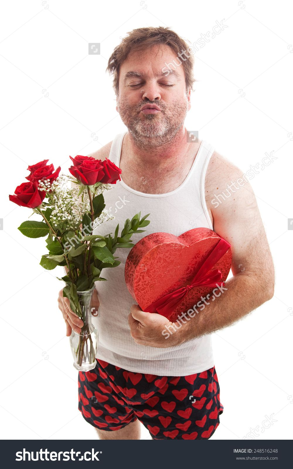 stock-photo-scruffy-middle-aged-man-in-his-underwear-with-flowers ...