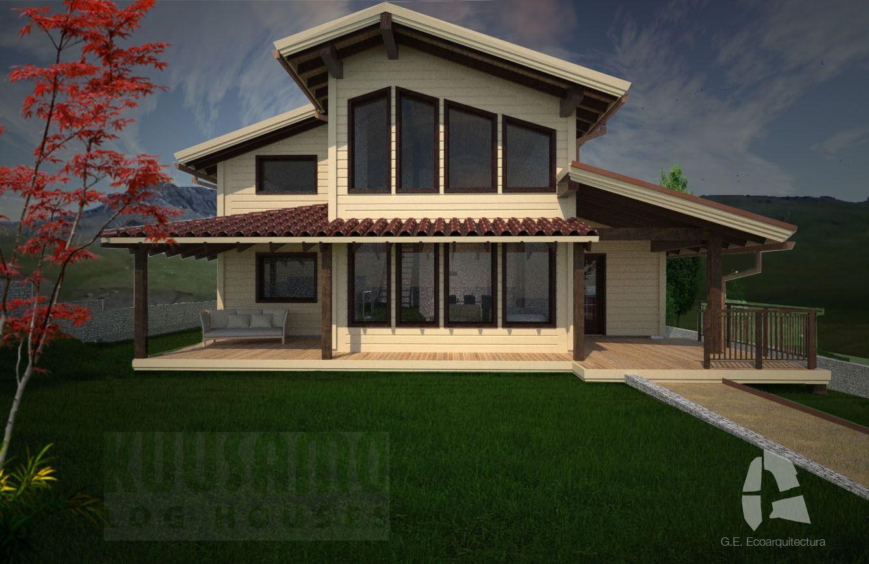 Pin by kuusamo houses espa a on casa de madera fachadas - Casas de madera espana ...