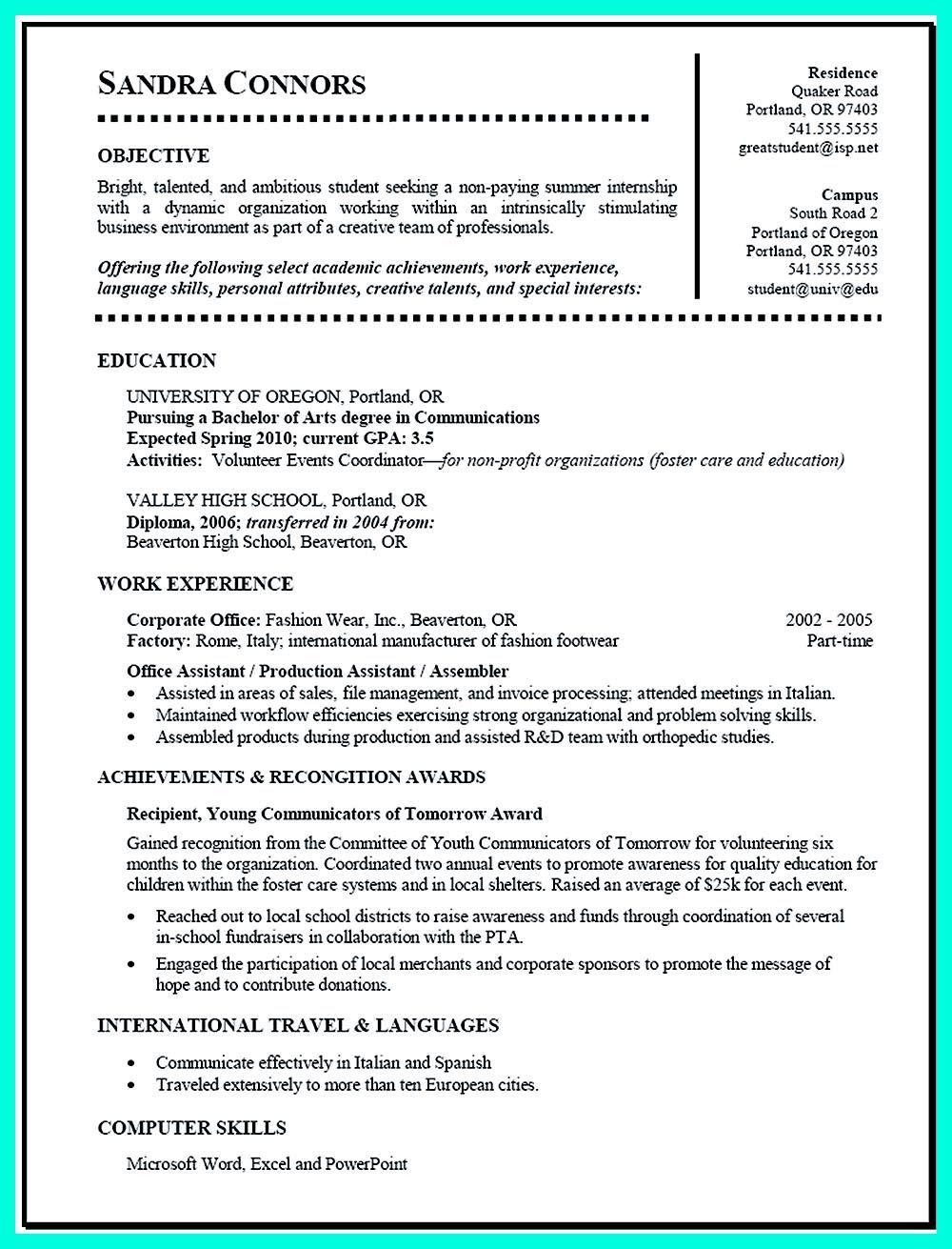 Resume For Internship | Resume For Internship Student Www Buzznow Tk