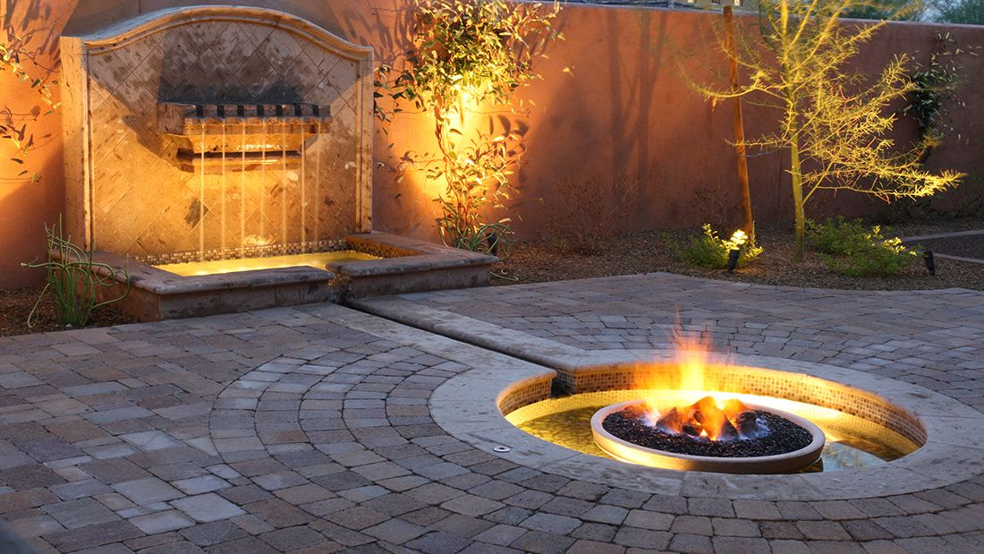 Fire pit and water feature yard water feature fire for Fire and water features