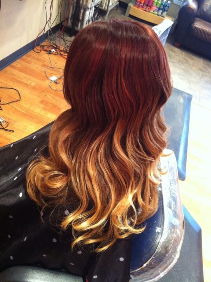 red to blonde ombr233 hair pinterest